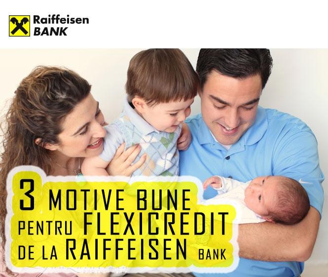Poza 3 motive bune pentru Flexicredit de la Raiffeisen Bank